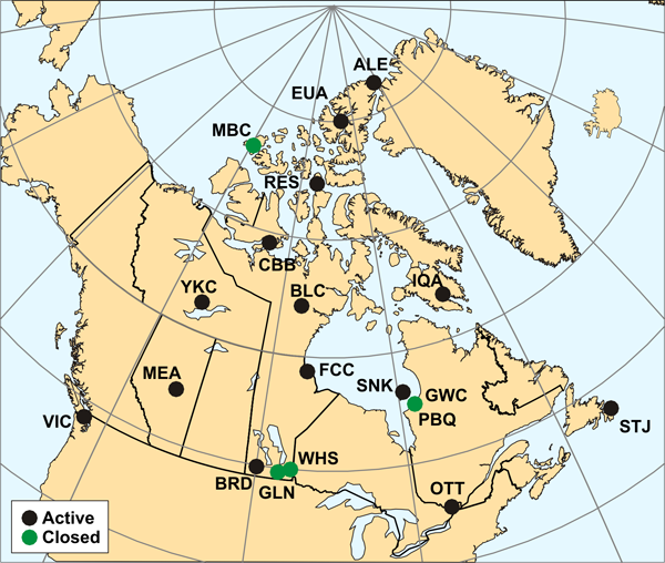 Map of canadian observatories.  For more information, view the following table.