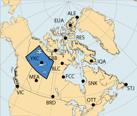Map of Canada with a large area highlighted in the vicinity of Yellowknife, Northwest Territories which is associated with the Western Auroral region